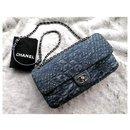 Chanel blue denim quilted flap bag
