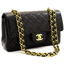 "Chanel 2.55 lined flap 9"" Chain Shoulder Bag Black Lambskin Purse"