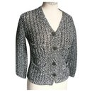 CHANEL Black and white openwork knit jacket T36 - Chanel