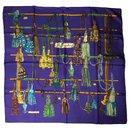 La Passementerie/Hermes purple silk square scarf - Hermès