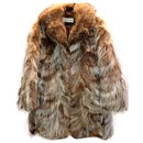 Robert Kalifa Paris Fox Fur Brown Coat - Autre Marque