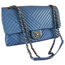 Classic Chanel timeless bag in electric blue