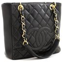 CHANEL Caviar PST Chain Sac à bandoulière Shopping Tote Black Quilted - Chanel