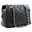 CHANEL Caviar Chain Sac à bandoulière Shopping Tote Black Quilted Purse - Chanel