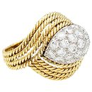 Chanteloup ring in yellow gold and platinum, diamants. - Autre Marque