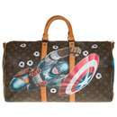 "Exceptional Louis Vuitton Keepall travel bag 50 canvas strap custom monogram ""Captain America Vs Mickey"" by artist PatBo"