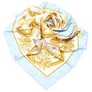 Hermes Blue Printed Silk Scarf - Hermès