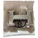 Boucle ceinture Hermès argentée Calandre