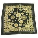 LANVIN 100% Silk Black Gold Floral Men's Pocket Square Scarf - Lanvin