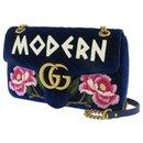 Gucci Blue GG Marmont Matelasse Velvet Crossbody Bag