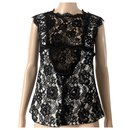 Chanel black lace top