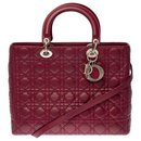 Very Chic Lady Dior large model bag (GM) plum cannage leather shoulder strap, Garniture en métal argenté - Christian Dior