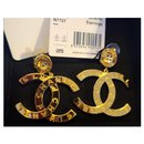 Chanel Paris CC gold earrings