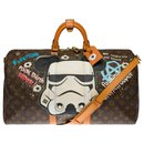 "Exceptional Louis Vuitton Keepall travel bag 50 custom monogram canvas shoulder strap ""Mickey Vs Stormstrooper"" by artist PatBo"