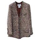 Chanel Red Ecru Wool Blend Tweed Paris-Dallas Jacket Sz. 38