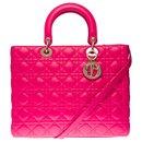 Splendid Christian Dior Lady Dior large model (GM) fuchsia pink cannage leather shoulder strap, Garniture en métal argenté