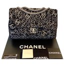 CHANEL Black Tweed and Strass Crystal Paris-Shanghai Pudong Jumbo Flap Bag Limited Edition - Chanel