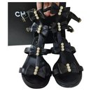 Chanel Camellia Pearl Black Leather Heels Sandals Size 37,5