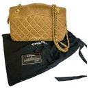 Superb Chanel bag in Camel suede with golden