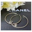 Chanel Crystal Moon Star CC Massive Hoop Earrings