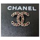 CHANEL CC Brooch Chain  Burgundy Leather - Chanel