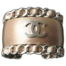 CHANEL Bronze leather cuff jewel very good condition - Chanel