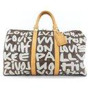 Silver Gray Stephen Sprouse Monogram Graffiti Keepall 50 Bag - Louis Vuitton