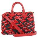 LVxUF Urs Fischer Red Monogram Speedy Bandouliere 25 Strap Bag - Louis Vuitton
