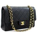 Chanel 2.55 lined Flap Medium Chain Shoulder Bag Black Lambskin