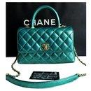 Chanel Small Coco Handle bag in Iridescent green caviar skin