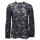 Black Long Sleeve Lace Blouse - Saint Laurent