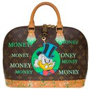"""Splendid Louis Vuitton Alma bag in monogram canvas and natural leather customized """"Picsou loves Money"""""""