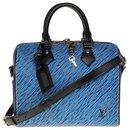 Rare Speedy 25 blue and white Epi Denim shoulder strap with a removable and adjustable black leather shoulder strap - Louis Vuitton