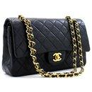 "Chanel 2.55 lined flap 10"" Chain Shoulder Bag Black Lambskin"