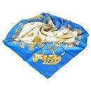 Hermes Blue Les Cavaliers dOr Silk Scarf - Hermès
