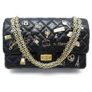 RARE CHANEL HANDBAG 2.55 M LUCKY CHARMS QUILTED LEATHER BANDOULIERE HAND BAG - Chanel