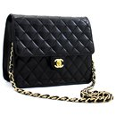 CHANEL Small Chain Shoulder Bag Clutch Black Quilted Flap Lambskin - Chanel