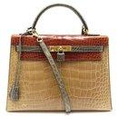 Hermès Kelly handbag 32 TRICOLOR CROCODILE ALLIGATOR LEATHER BANDOULIERE PURSE