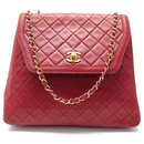 VINTAGE HAND BAG CHANEL TIMELESS TRAPEZE BANDOULIERE RED LEATHER HAND BAG - Chanel