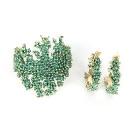 inconnue-Parure bracelet + boucles d'oreilles en forme de branche de corail-Bleu,Doré,Vert