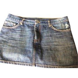 Prada-Mini-jupe-Bleu