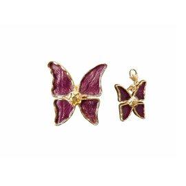 Yves Saint Laurent-Broche et pendentif papillon-Violet