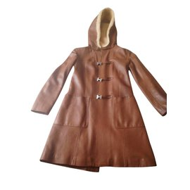 Hermès-Manteau duffle coat-Cognac