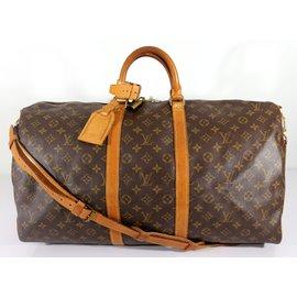 Louis Vuitton-Keepall 55 bandouliere-Marron