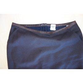 Hermès-Jupe crayon laine et cuir-Marron