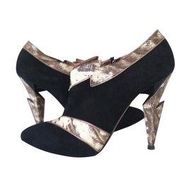 Chaussures plates ouvertes en denim Pasoumi BowAncient Greek Sandals s7Z1NADTi0