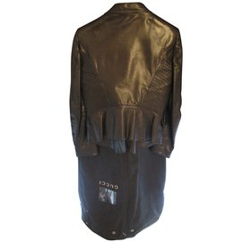 Gucci-Veste courte en cuir-Noir