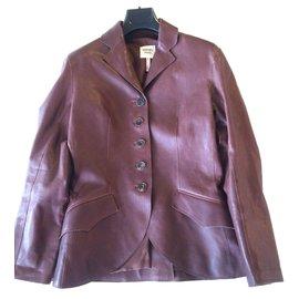Hermès-Veste cuir marron-Marron