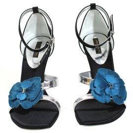 Louis Vuitton-Sandales fleur bleue-Noir
