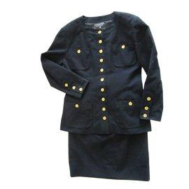 Chanel-Tailleur jupe Vintage-Noir